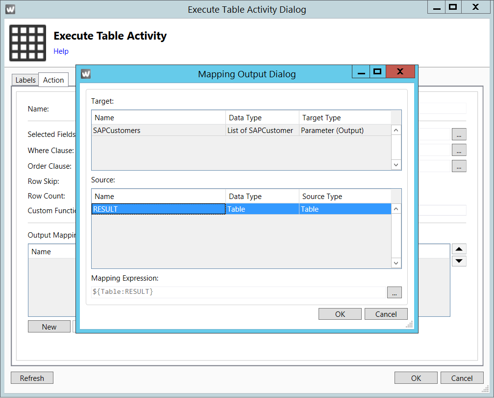 Execute table activity | Theobald Online Help